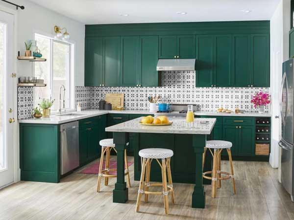 Crocodile Green color kitchen