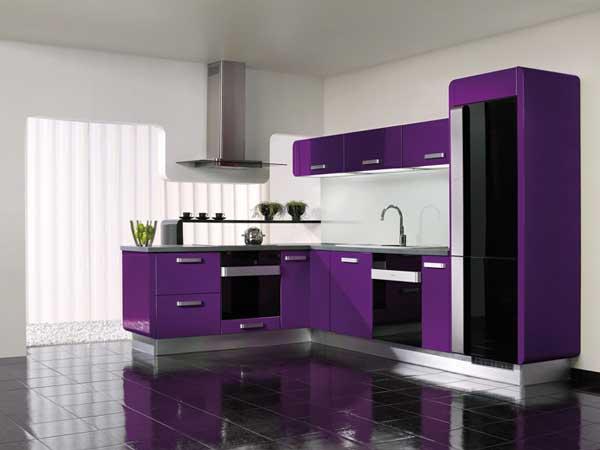 Eggplant Purple color kitchen