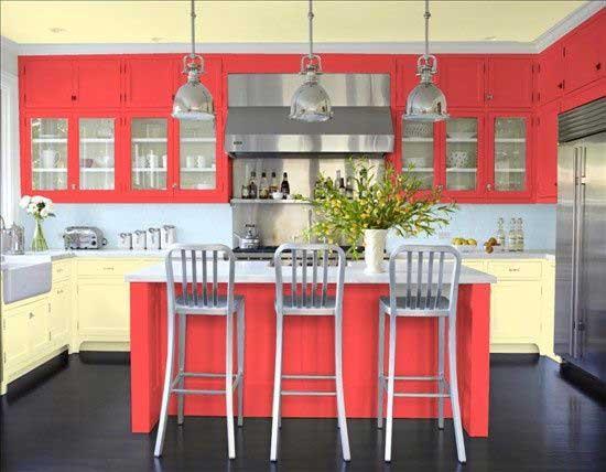 coral color kitchen
