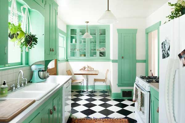 mint green color kitchen